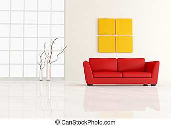 minimal living room - red leather sofa in a minimal white...