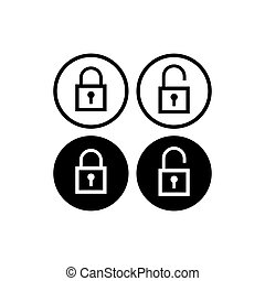 Minimal Lock Unlock button set. Outline Square Padlock icon vector illustration with round shape. Security design element. Protection symbol isolated on white background. Black Color