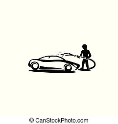 a person cleaning the car using the pipe on white background vector illustration design.