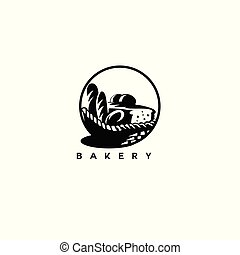 minimal logo of black bakery basket vector illustration.