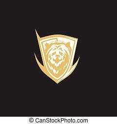minimal logo of golden bear vector illustration
