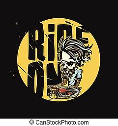 minimal logo of golden bike rider vector illustration
