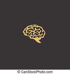 minimal logo of golden human brain vector illustration