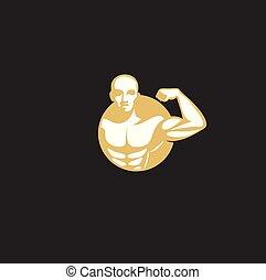 minimal logo of golden muscle man vector illustration. -...
