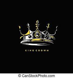minimal logo of king crown vector illustration