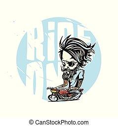 Minimal logo of red bike rider vector illustration.