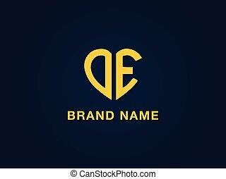 Minimal love initial letter DE logo.