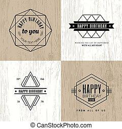 Minimal monochrome geometric vintage happy birthday badge on wood background