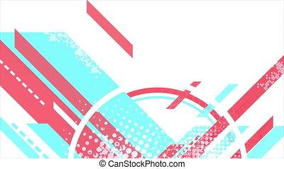 minimal, mouvement, plat, géométrique, rose, cyan, fond, ...