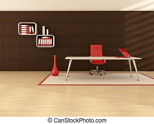minimal office space with modern desk in front a dark wooden...