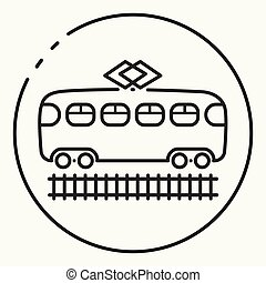 Minimal outline tram icon
