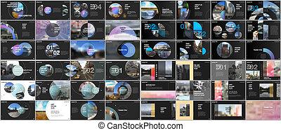 Minimal presentations design, portfolio vector templates with circle elements on black background. Multipurpose template for presentation slide, flyer leaflet, brochure cover, report, advertising