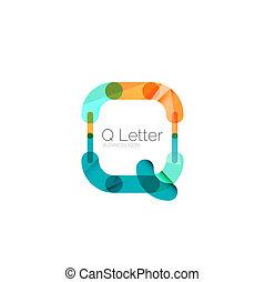 Minimal Q font or letter logo design isolated on white