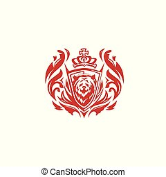 minimal red bear logo vector illustration.