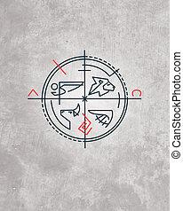 Minimal religious symbol - Hand drawn vector illustration or...