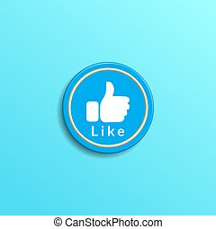 Minimal rounded social media like button on tosca blue gradation color background. creative 3d effect vector illustration.