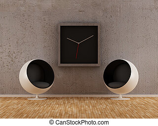 Minimal Style Modern Interior - Armchairs with wall clock