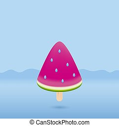 Minimal summer concept design of watermelon ice cream on blue background vector illustration