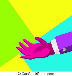 Minimal Surreal Hand Vector. Creative Surrealism People. Poster Concept. Trendy Summer Colors. Minimalism Flat Illustration