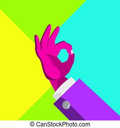 Minimal Surreal Hand Vector. Psychedelic Background. Minimal Fun. Contemporary Art. Creative Surrealism People. Flat Illustration