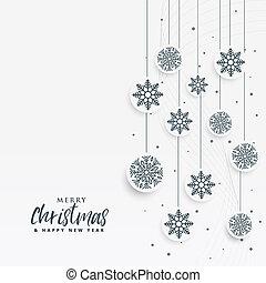 minimal white christmas background with snowflakes decoration