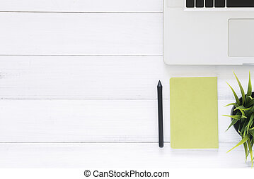 Creative flat lay photo of workspace desk.