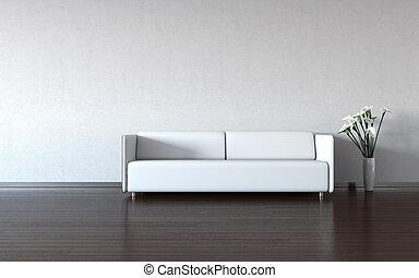 minimalism:, blanco, sofá, y, florero, por, la pared