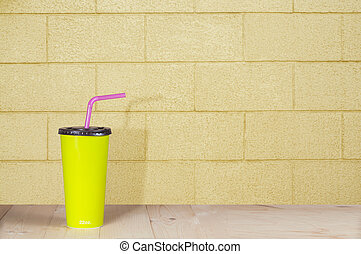 minimalism, cardboard cup with a straw.