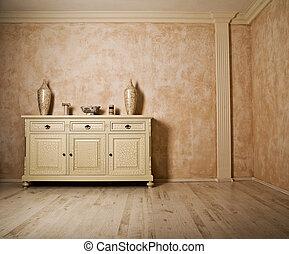 Minimalism designed beige room