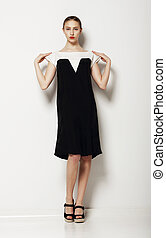 minimalism., elegáns, nő, mód képez, alatt, kényelmes, szembeállít, dress., jólét