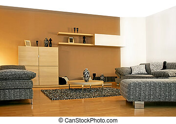 Minimalism living - Minimalism style of living room in brown...