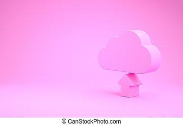 minimalism, roze, 3d, render, pictogram, vrijstaand, achtergrond., downloaden, concept., illustratie, wolk