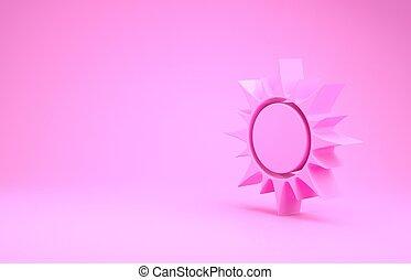 minimalism, roze, zon, render, pictogram, vrijstaand, achtergrond., concept., illustratie, 3d