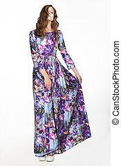 minimalism., simplicity., nő, alatt, colorful csillogó, sundress, felett, white háttér
