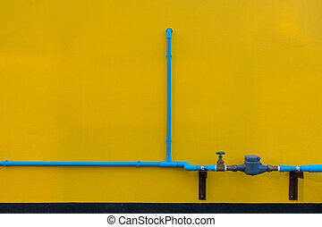 Minimalism style, Blue water tube with valve on the wall.
