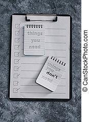 minimalisme, choses, introspection, concept, liste, vous, ...