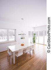 minimalisme, dîner, style, salle