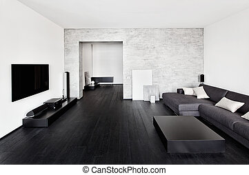 minimalisme, intérieur, style, moderne, drawing-room