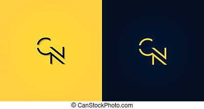 Minimalist Abstract Initial letter CN logo. This logo ...
