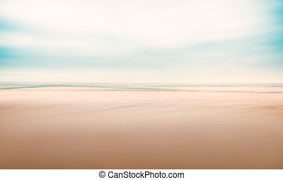 A minimalist, abstract seascape with panning motion combined with a long exposure. Image displays a fine grain texture at 100 percent.
