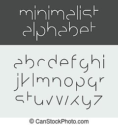Minimalist alphabet lowercase letters illustration