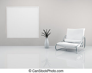 Minimalist armchair - A room with a minimalist white...