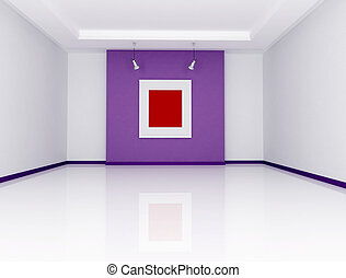minimalist art gallery - white and purple art gallery -...