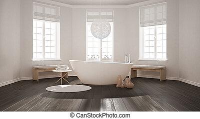 Minimalist, Badezimmer, Klassisch, Zen, Skandinavisch, Badewanne, Design,  Inneneinrichtung,
