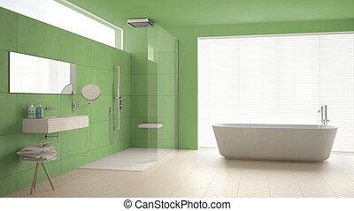 Minimalist badezimmer gr n luxus minimalist - Fliesenmuster dusche ...