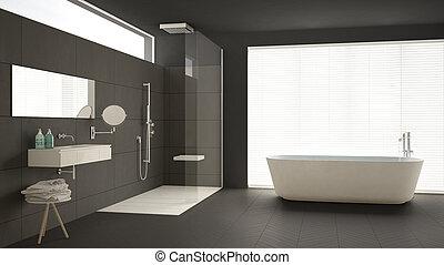 Minimalist badkamer classieke douche vloer ontwerp parket