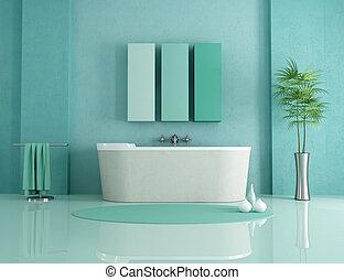 minimalist bathroom - sandstone bathtub in a green modern...