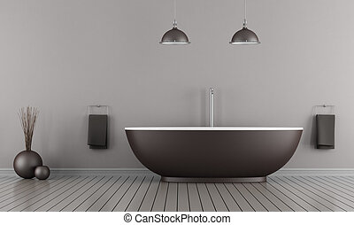 Minimalist bathroom - Minimalist bathroom with brown bathtub...