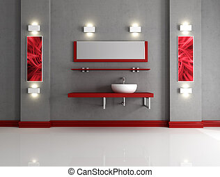 Minimalist bathroom - minimalist grey and red bathroom -...