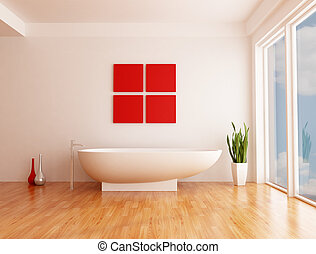 minimalist white bathroom with fashion bathtub - rendering- the sky on back ground is a my photo